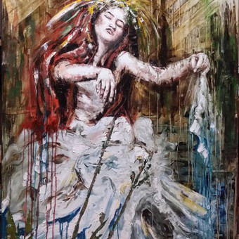 """Baltų deivės """" Laumė """" anglis , aliejus , drobė 140 ×100"""