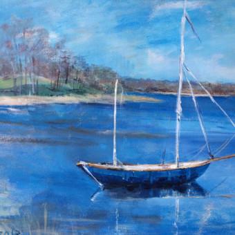 Lietuviškas peizažas su valtimi. Mėlyna spalva ramina. Parduodamas.
