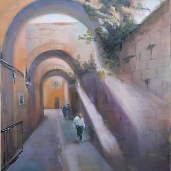"""""""Jeruzalės gyventojai"""". Pageidaujamo siužeto paveikslas ant drobės aliejiniais dažais. Pavyzdys"""
