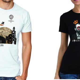 Marškinėlių dizainas Stokholmo turizmo tema. Dizaino konkurso laimėtojimas