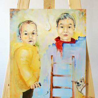 """Darbas pagal užsakymą. """"Vaikų kompozicija su šuneliu"""". Drobė, aliejus. 72x60cm. 2017m."""