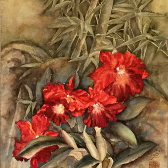 """""""Orchidėjos"""", 40 x 60, mineraliniai dažai, ryžių popierius. Parduodamas"""